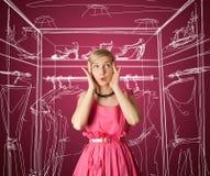 Überraschtes Mädchen im Rosa Lizenzfreie Stockfotografie