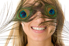 Überraschtes Mädchen mit schönem Lächeln Stockbild