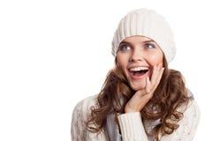 Überraschtes Mädchen Winterfrau getrennt stockbild