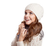 Überraschtes Mädchen Winterfrau getrennt stockfotografie
