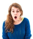 Überraschtes Porträt der Frau lizenzfreie stockfotos