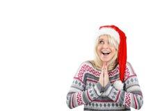 Überraschtes und glückliches junge Frau withn klatschende Hände Lizenzfreie Stockfotos