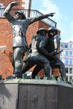 Überraschungsangriff-Feuerwehrmann-Statue Stockfoto