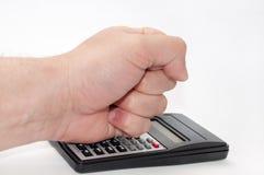 Überreichen Sie wissenschaftlichen Taschenrechner Lizenzfreies Stockbild