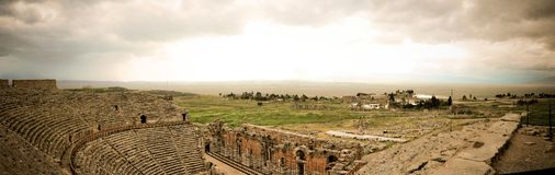 Überreste einer ehemaligen Zivilisation in Pamukkale Stockbild