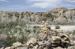 Überreste eines Altbaus in der Wüste mit Kaktusfeigen im Vordergrund stockfoto