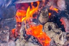 Überreste eines Feuers, die Asche schwelt noch stockfotografie