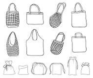 Überschüssige Stofftaschen des Handgezogenes Satzes null für das Einkaufen vektor abbildung