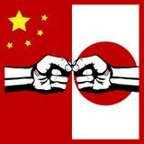 $überschneidung China und Japan Stockbild