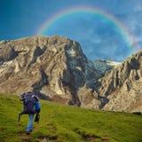 Überschrift in Richtung zum Regenbogen Lizenzfreies Stockbild