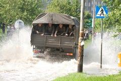 Überschwemmen Sie im Wroclaw, Kozanow 2010 Lizenzfreies Stockfoto