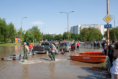Überschwemmen Sie im Wroclaw, Kozanow 2010 Lizenzfreie Stockfotografie