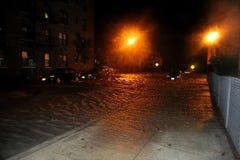 Überschwemmte Autos, verursacht von Hurricane Sandy, NY stockfotografie