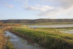 Überschwemmte Bauernhoffelder Somerset England Stockbild
