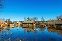 Überschwemmte Häuser Lizenzfreie Stockbilder