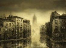 Überschwemmte Stadt Stockfotografie