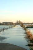 Überschwemmte Straße in den Niederlanden lizenzfreies stockbild