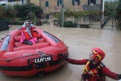 Überschwemmte Wohngebiete in Marina di Carrara lizenzfreies stockbild