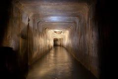 Überschwemmter Abwasserkanaltunnel mit schmutzigem verschmutztem Wasser von Untertagefluß unter Vorone Lizenzfreies Stockbild