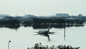 Überschwemmter Flughafen in Bangkok Lizenzfreie Stockfotografie