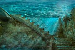 Überschwemmter Keller eines alten Hauses Stockbild