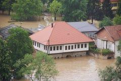 Überschwemmtes altes Haus Stockbild