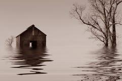 Überschwemmtes Iowa-Bauernhaus Lizenzfreie Stockfotos