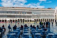 Überschwemmtes St. markiert Quadrat in Venedig, Italien Stockfoto