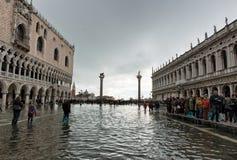 Überschwemmtes St. markiert Quadrat in Venedig, Italien Stockfotografie