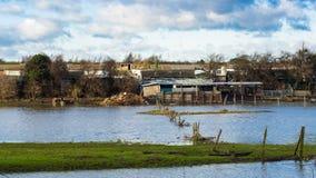 Überschwemmung auf dem mardyke Stockbilder