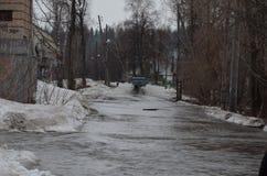 Überschwemmung der Häuser Stockbild