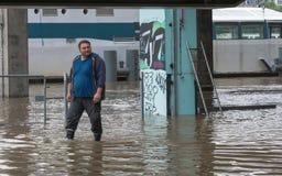 Überschwemmung der Seines, Effekt der globalen Erwärmung Lizenzfreies Stockbild