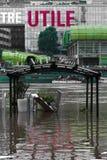 Überschwemmung der Seines, Effekt der globalen Erwärmung stockbilder