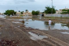 Überschwemmung in Ras al Khaimah, UAE stockbild