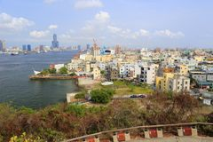 Übersehen Sie Kaohsiungs-Hafen von qijin Insel, luftgetrockneter Ziegelstein rgb Stockbild