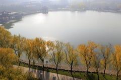 Übersehen Sie schönen datang furong Garten im Winter, luftgetrockneten Ziegelstein rgb Stockfoto