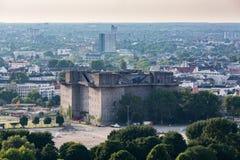 Übersehen Sie zum alten Stadtteil von Hamburg, Deutschland stockbilder