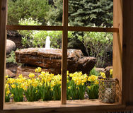 Fenster-übersehenbrunnen Stockbild