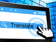 Übersetzen Sie anzeigt online Bekehrten Englisch und Sprache Stockbild