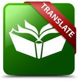 Übersetzen Sie grünen quadratischen Knopf Lizenzfreie Stockfotos