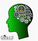 Übersetzen Sie Hintergrund innerhalb des grünen Hauptgehirns, Idee, erneuern Sie und kreativ vektor abbildung
