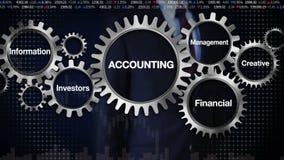 Übersetzen Sie mit Schlüsselwort, das Management, finanziell, Investoren, die Informationen, kreativ Geschäftsmann, der berührt ' stock abbildung