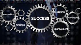 Übersetzen Sie mit Schlüsselwort, Führung, die Innovation, kreativ, Abenteuer, Verbesserung Geschäftsmann, der berührt 'ERFOLG' lizenzfreie abbildung