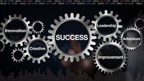 Übersetzen Sie mit Schlüsselwort, Führung, die Innovation, kreativ, Abenteuer, Verbesserung GeschäftsmannTouch Screen 'ERFOLG'