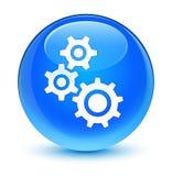 Übersetzt runden Knopf des glasigen Cyanblaus der Ikone Stockbild