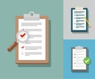 Übersichts-Illustration Checklistenillustration Übersichts-Checkliste IC Stockbild