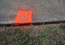 Übersichts-Markierung auf dem Bürgersteig Stockfoto
