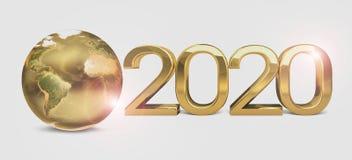 überträgt globale Erde goldenes 3d der Welt 2020 Stockfotografie
