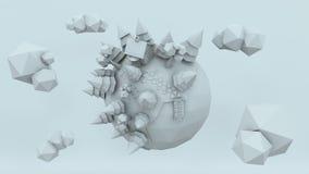 übertragen der niedrige Polyplanet 3D, Illustration übertragend, erstaunliches Weiß Lizenzfreie Stockbilder