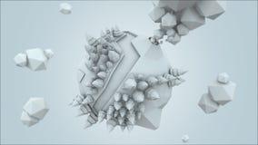übertragen der niedrige Polyplanet 3D, Illustration übertragend, erstaunliches Weiß Stockbilder